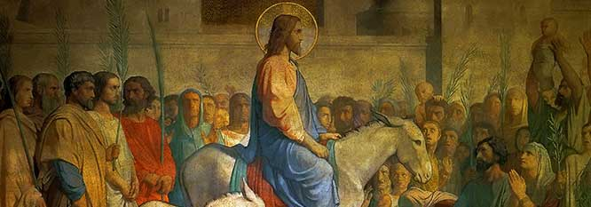 Christ riding into Jerusalem on Palm Sunday